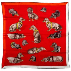 New in Box Hermes Collectible Dachsund Scarf