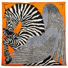 New in Box Hermes Collectible Orange Zebra Pochette Scarf