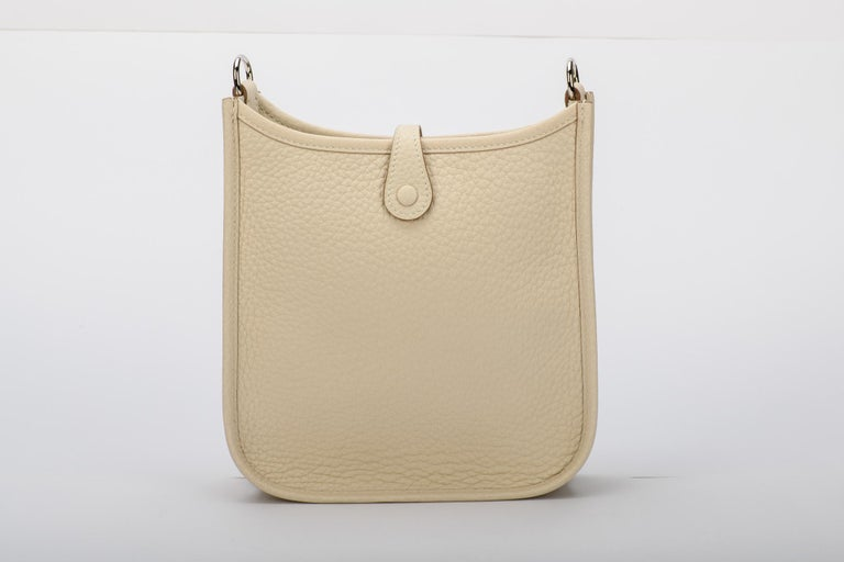 Beige New in Box Hermes Craie Clemence Evelyne TPM Bag For Sale