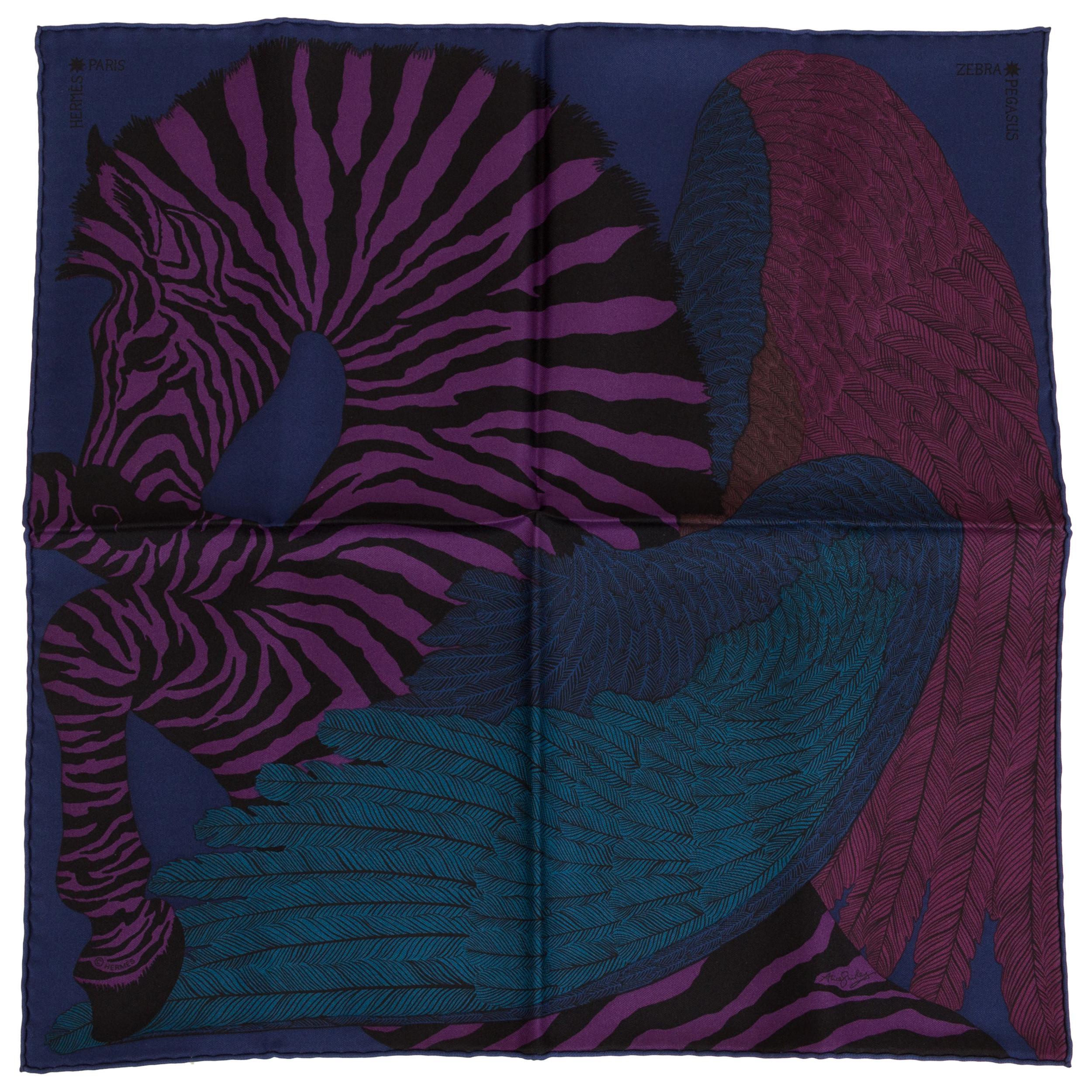 New in Box Hermès Dark Blue Silk Pouchette Zebra Scarf