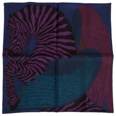 New in Box Hermès Dark Blue Silk Pouchette Zebra Scarf