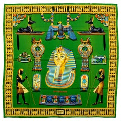New in Box Hermes Egyptian Green Silk Scarf