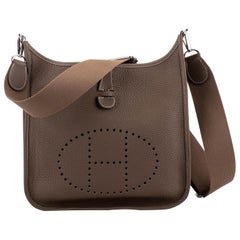 New in Box Hermes Evelyne PM Etoupe Palladium Crossbody Bag