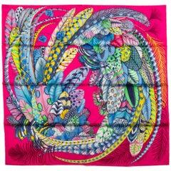 New in Box Hermes Fuchsia Feathers Silk Scarf
