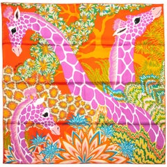"New in Box Hermes ""Giraffes"" Silk Scarf"