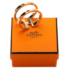 New in Box Hermes Gold Tone Scarf Ring