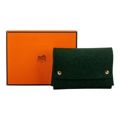 New in Box Hermès Green Perforated Felt Pouch