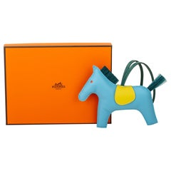 New in Box Hermès Grigri GM Rodeo Charm Turquoise