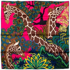 New in Box Hermes Hot Pink Giraffe Scarf