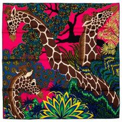 New in Box Hermes Hot Pink Giraffe Scarf