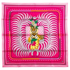 New in Box Hermes Imperial Tiger Fuchsia Silk Scarf