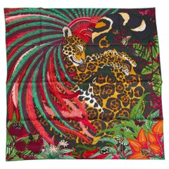 New in Box Hermès Jaguar Quetzal Silk Twill Scarf