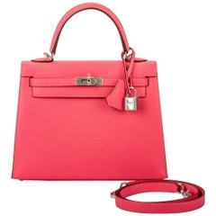 New in Box Hermes Kelly 25 Rose Azalee Sellier Bag
