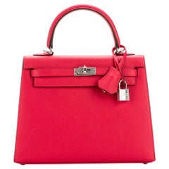 New in Box Hermes Kelly 25 Rose Extreme Espom Bag