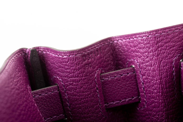 New in Box Hermes Kelly 28 Anemone Palladium Bag For Sale 5