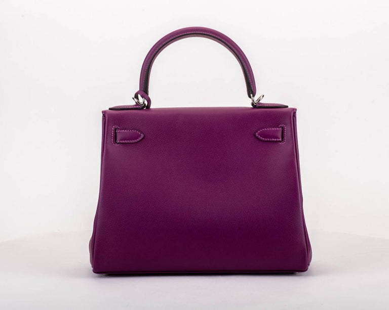 Purple New in Box Hermes Kelly 28 Anemone Palladium Bag For Sale