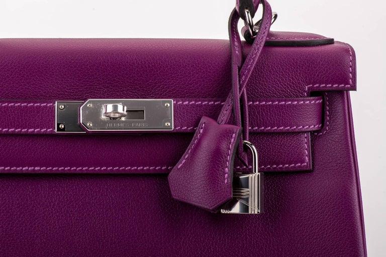 Women's New in Box Hermes Kelly 28 Anemone Palladium Bag For Sale