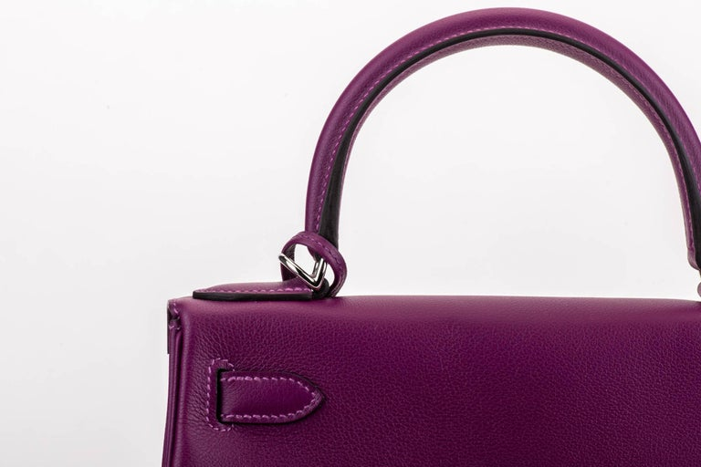 New in Box Hermes Kelly 28 Anemone Palladium Bag For Sale 1