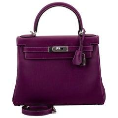 New in Box Hermes Kelly 28 Anemone Palladium Bag