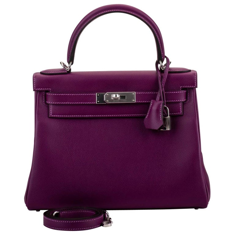 New in Box Hermes Kelly 28 Anemone Palladium Bag For Sale