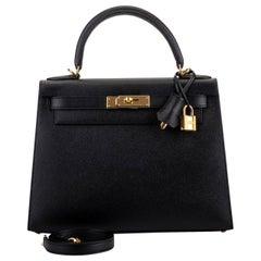 New in Box Hermes Kelly 28 cm Black Epsom Gold Bag