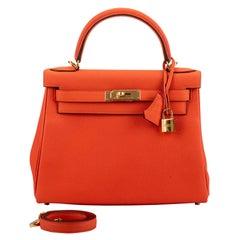 New in Box Hermes Kelly 28cm Feu Togo Gold Bag