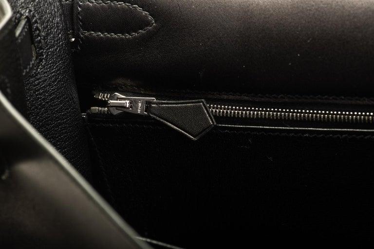 New in Box Hermes Kelly 32 Black Evercalf Bag For Sale 6