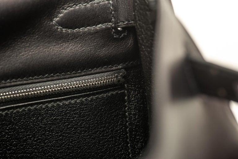 New in Box Hermes Kelly 32 Black Evercalf Bag For Sale 7