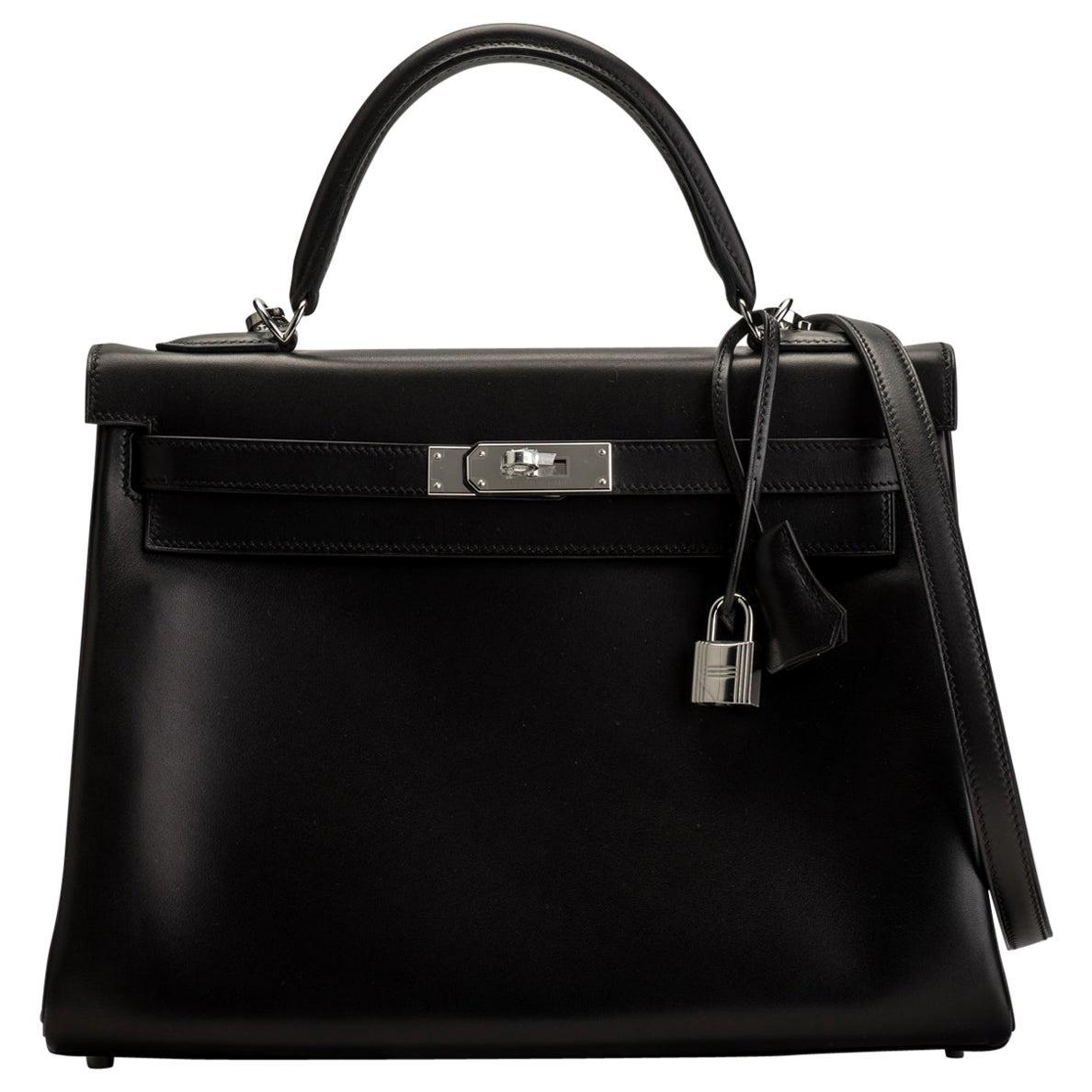 New in Box Hermes Kelly 32 Black Evercalf Bag