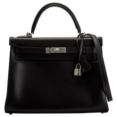 New in Box Hermes Kelly 32 Black Evercalf Bag
