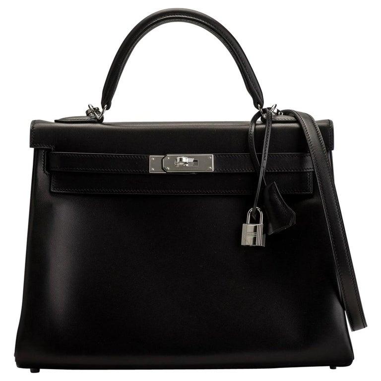 New in Box Hermes Kelly 32 Black Evercalf Bag For Sale