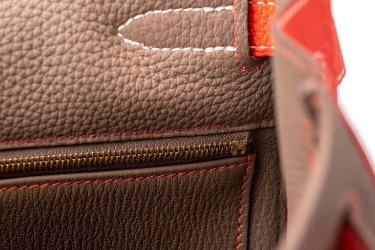 New in Box Hermes Kelly 35Cm Horseshoe Etoupe Pivoine Bag For Sale 5