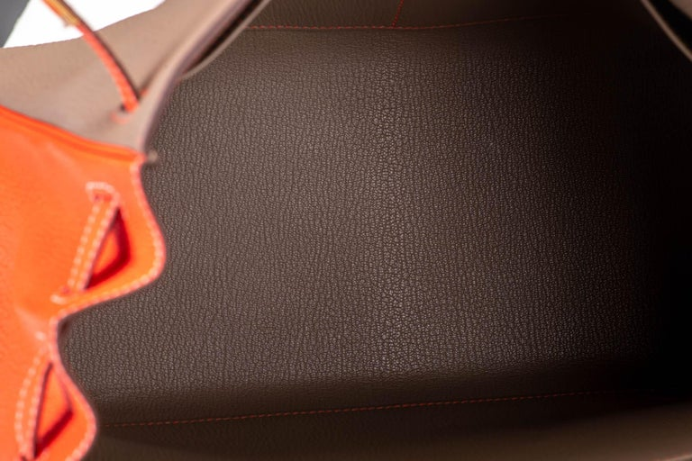 New in Box Hermes Kelly 35Cm Horseshoe Etoupe Pivoine Bag For Sale 6