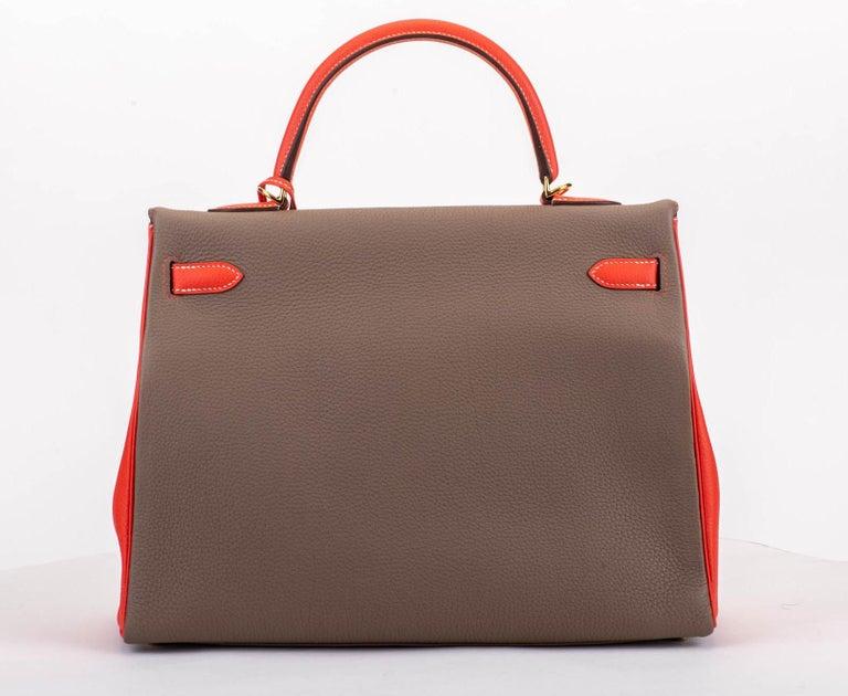 Brown New in Box Hermes Kelly 35Cm Horseshoe Etoupe Pivoine Bag For Sale