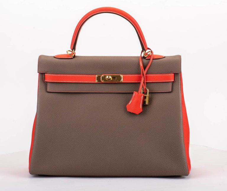 Women's New in Box Hermes Kelly 35Cm Horseshoe Etoupe Pivoine Bag For Sale