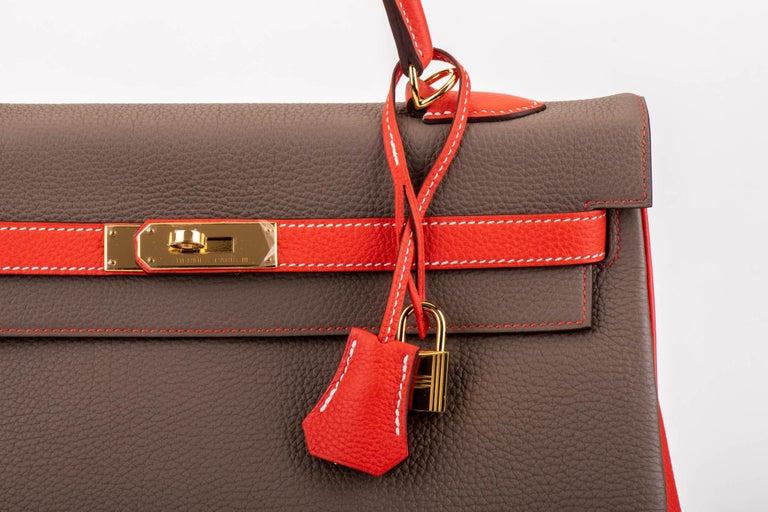 New in Box Hermes Kelly 35Cm Horseshoe Etoupe Pivoine Bag For Sale 1