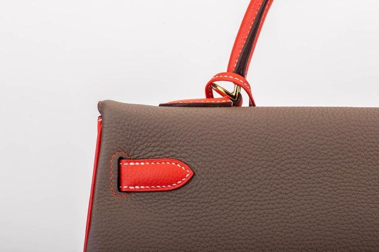 New in Box Hermes Kelly 35Cm Horseshoe Etoupe Pivoine Bag For Sale 2