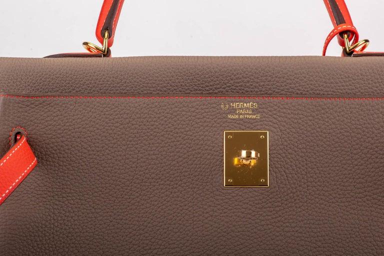 New in Box Hermes Kelly 35Cm Horseshoe Etoupe Pivoine Bag For Sale 3