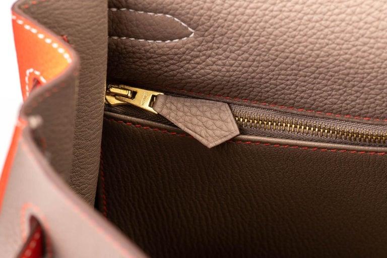 New in Box Hermes Kelly 35Cm Horseshoe Etoupe Pivoine Bag For Sale 4