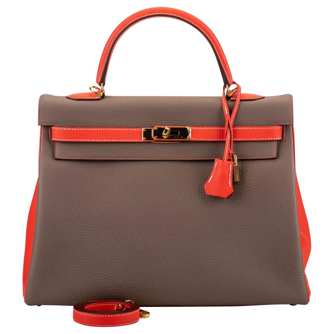 New in Box Hermes Kelly 35Cm Horseshoe Etoupe Pivoine Bag