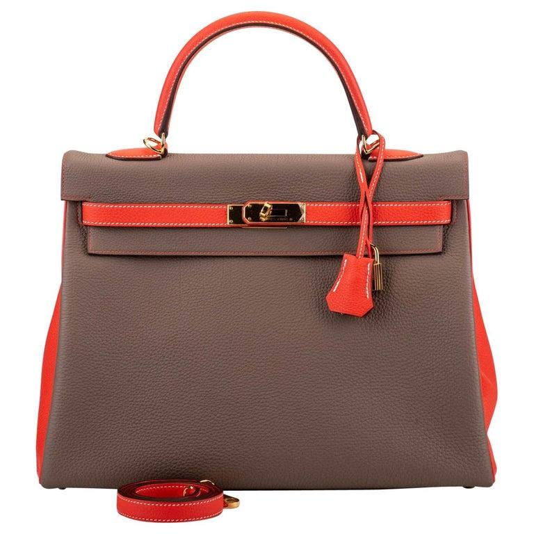 New in Box Hermes Kelly 35Cm Horseshoe Etoupe Pivoine Bag For Sale
