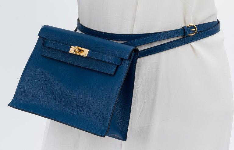 New in Box Hermes Kelly Danse Deep Blue Gold Bag For Sale 6