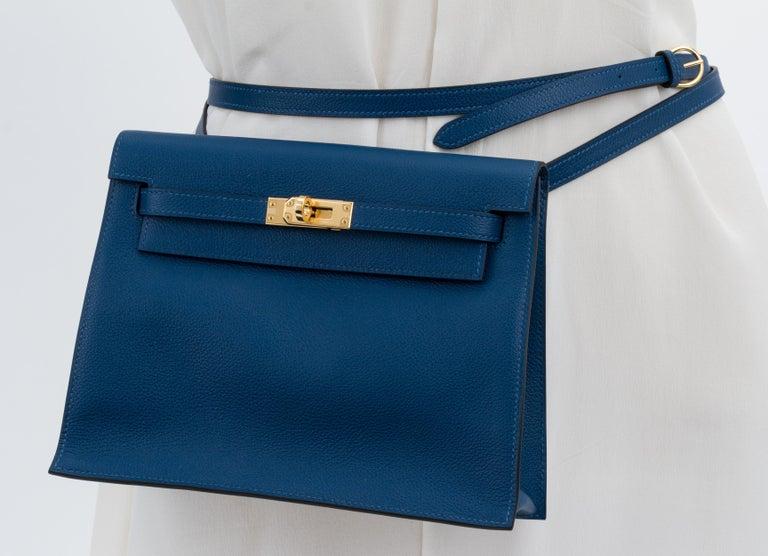 New in Box Hermes Kelly Danse Deep Blue Gold Bag For Sale 7