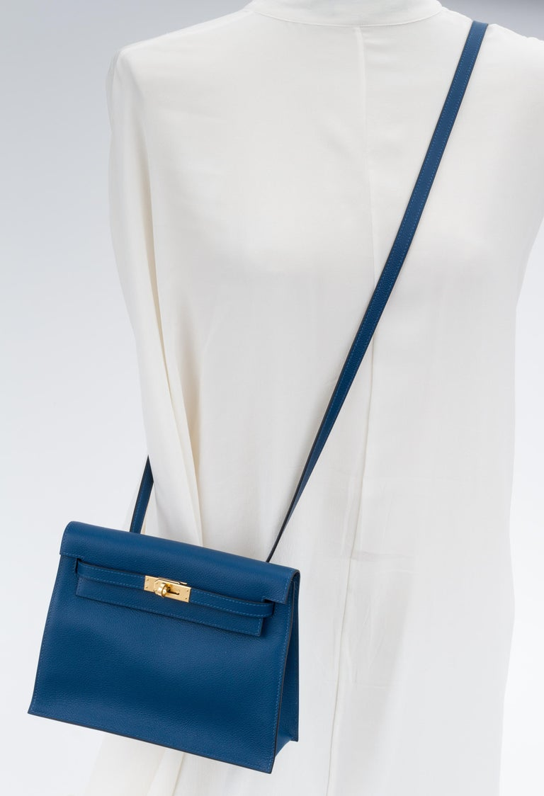 New in Box Hermes Kelly Danse Deep Blue Gold Bag For Sale 8