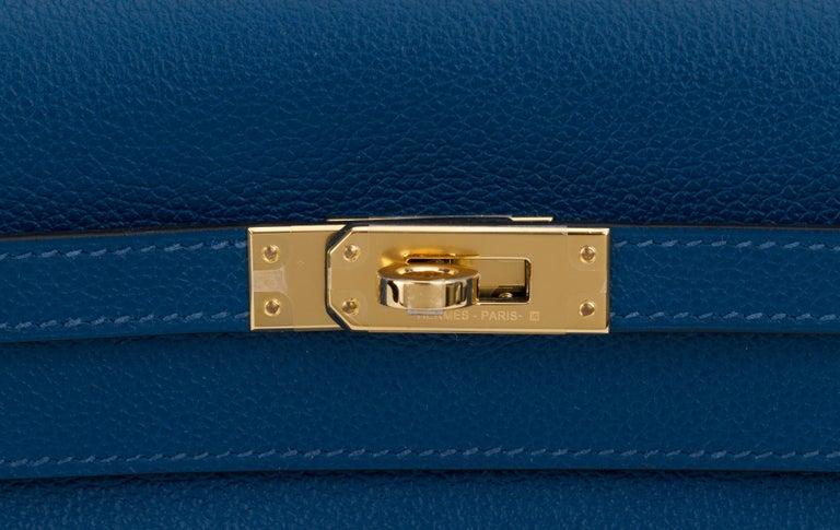 New in Box Hermes Kelly Danse Deep Blue Gold Bag For Sale 1