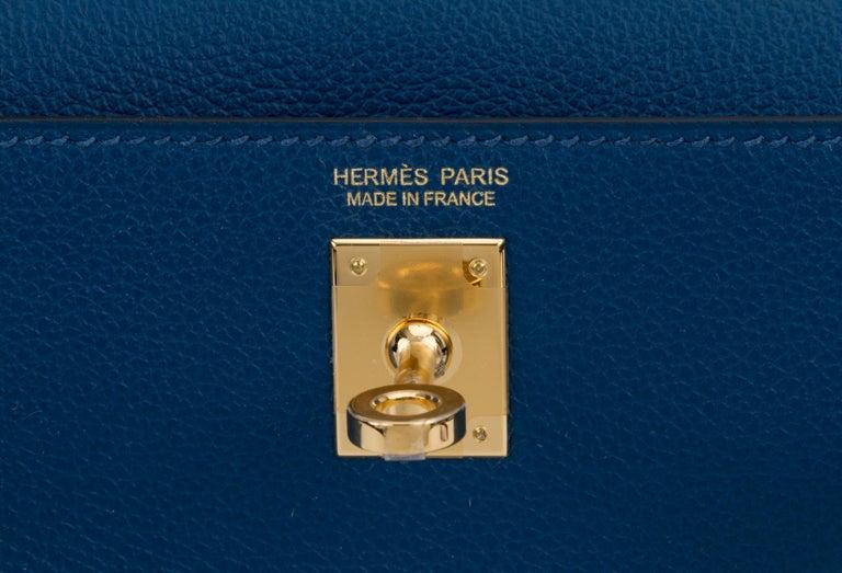 New in Box Hermes Kelly Danse Deep Blue Gold Bag For Sale 2