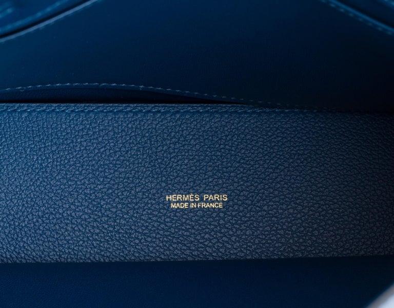 New in Box Hermes Kelly Danse Deep Blue Gold Bag For Sale 3