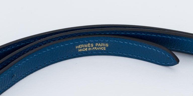New in Box Hermes Kelly Danse Deep Blue Gold Bag For Sale 4