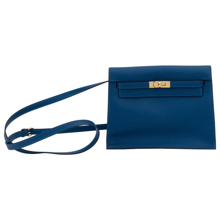 New in Box Hermes Kelly Danse Deep Blue Gold Bag For Sale