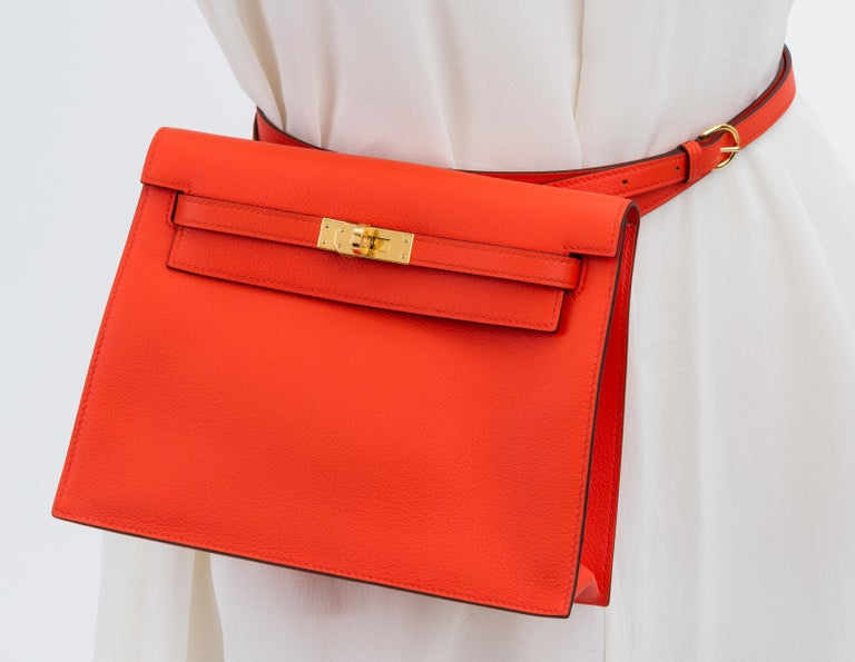 Red New in Box Hermes Kelly Danse Feu And Gold For Sale